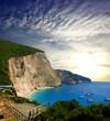 Summer rocky coastline view near Porto Katsiki beach on Ionian Sea