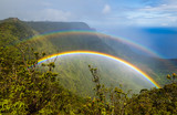Fototapeta Tęcza - Double rainbow over Kalalau valley, seen from Pihea trail, Kauai, Hawaii. Shoot through a polarizer filter.