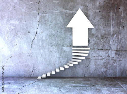 Fotografía  stairs and arrow for business growth and challenge