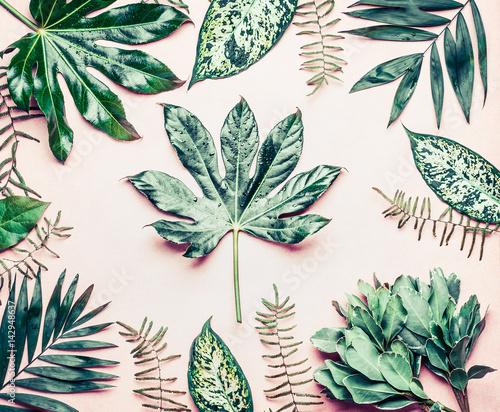 Naklejka - mata magnetyczna na lodówkę Egzotyczne rośliny na pastelowych różowym tle