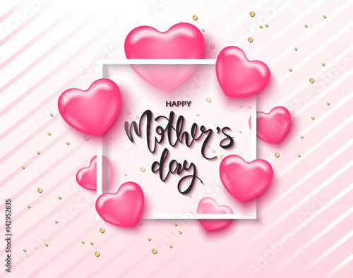 happy mothers day card template with cute pink heart with lettering