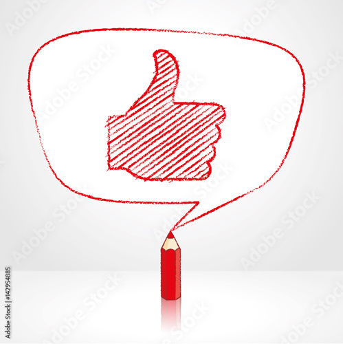 Red Pencil Drawing Like Icon In Irregular Shaped Speech Balloon