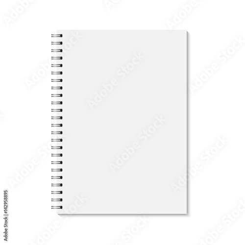vector realistic closed notebook vertical blank copybook with