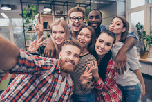 Group Of Happy Cheerful Best Friends Making Selfie