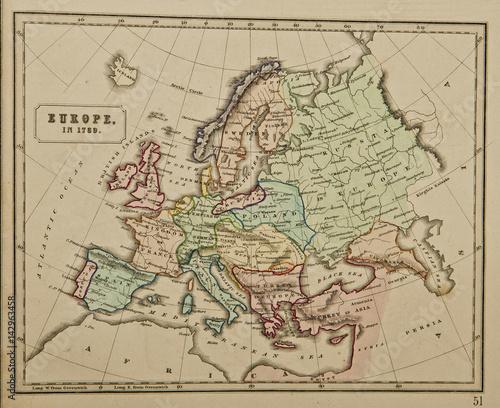 Zdjęcie XXL Europa w 1789 roku. Starożytna mapa świata. Wydane przez George'a Philipa i syna w Londynie w 1857 r. I nie podlegają prawom autorskim.