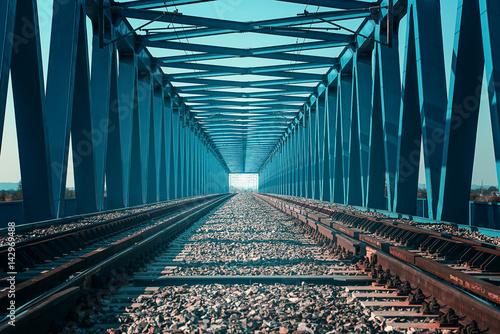 Rails running on a bridge