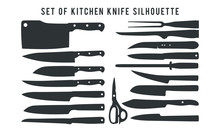 Set Of Kitchen Knife Silhouette