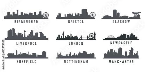 Fotografie, Obraz  set of Great Britain big cities skyline silhouette