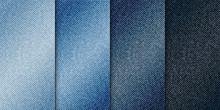 Vector Various Blue Color Jeans Backgrounds, Realistic Denim Cloth Illustration, Set Of Vertical Banners With Blue Denim Texture.