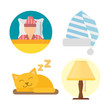 Sleep icons lamp vector illustration set collection nap icon relax bedtime set sleeping cat bedroom pajamas