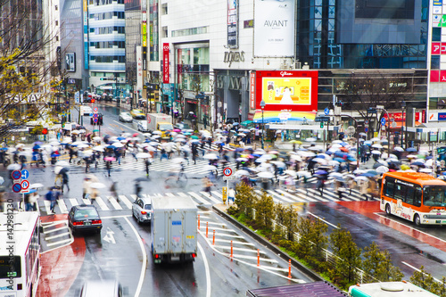 Scramble intersection in Shibuya on rainy day