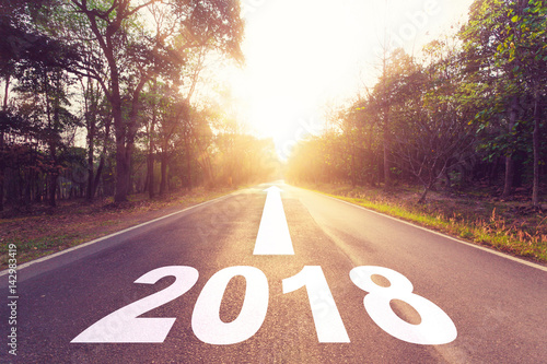 Fotografia, Obraz  Empty asphalt road and New year 2018 goals concept.