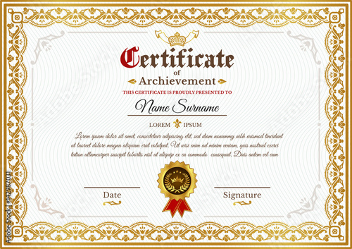 Vector Certificate Template On Awarding Design Of Certificate With