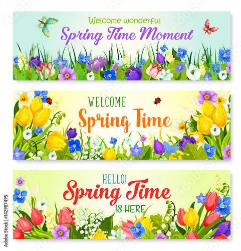 Deurstickers Vlinder Spring flowers vector banners for holiday greeting