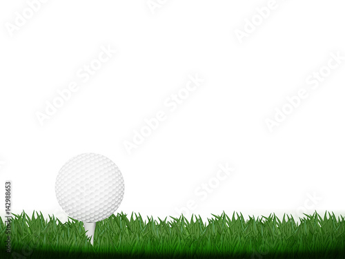 Golf Ball With Grass On White Background Concept Design For Golf Tournament Banner In Vector Illustration Buy This Stock Vector And Explore Similar Vectors At Adobe Stock Adobe Stock