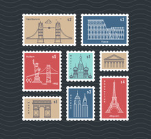 Postage Stamps With Line Trave...