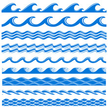 Sea Water Waves Vector Seamles...
