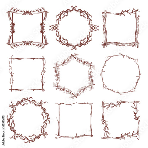 Photo Vintage rustic branch frame borders, hand drawn vector set