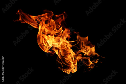 Keuken foto achterwand Vuur Fire flames isolated on black background