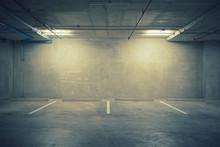 Parking Garage Department Store Interior With Blank Billboard