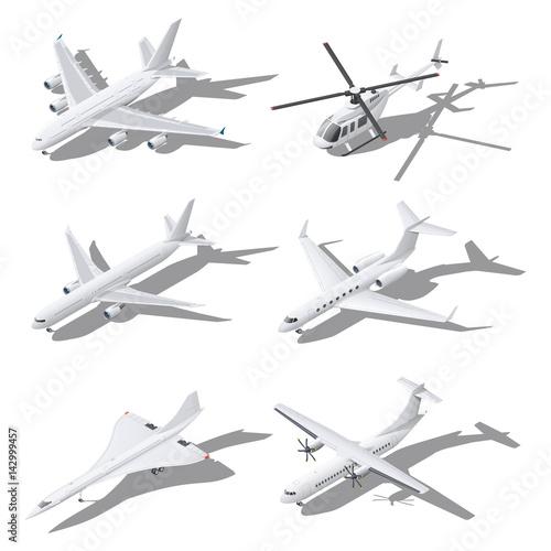 Fotografia, Obraz Various passenger aircraft isometric icon set