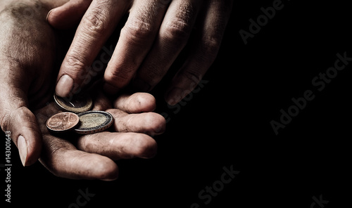 Hands of beggar with few coins Wallpaper Mural