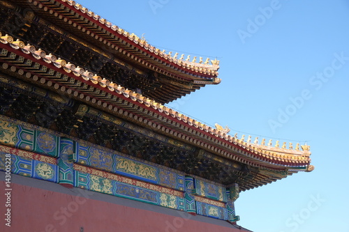In de dag China Tiled roof and facade decorated with a Chinese pattern. Palace in The Forbidden City, Beijing, China