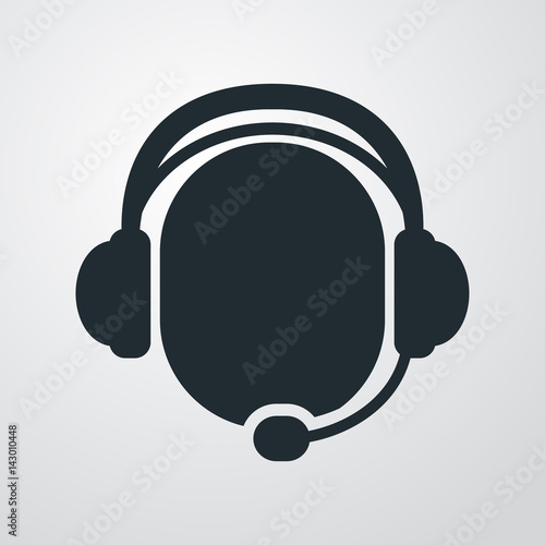 Fotografía  Icono plano simbolo operador con auriculares en fondo degradado