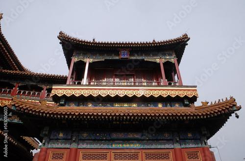 In de dag Beijing Beautiful Lama Yonghe Temple in Beijing, China
