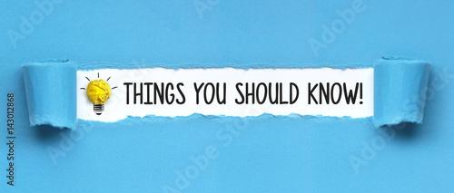 Obraz Things you should Know! / papier - fototapety do salonu