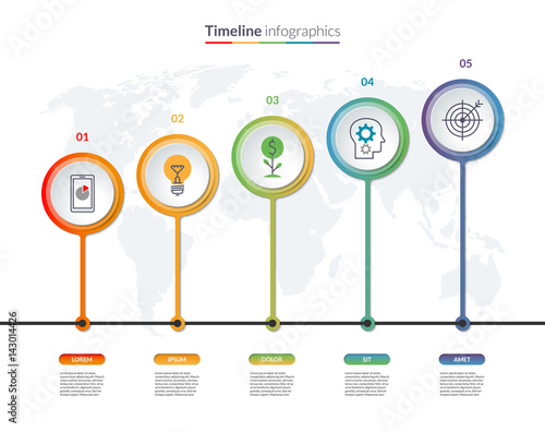 Valokuva  Timeline infographic banner with circular design elements and world map
