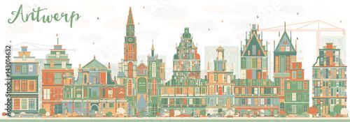 Foto op Plexiglas Antwerpen Abstract Antwerp Skyline with Color Buildings.
