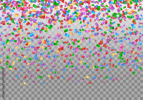 happy new year background with confetti in air on a transparent backdrop