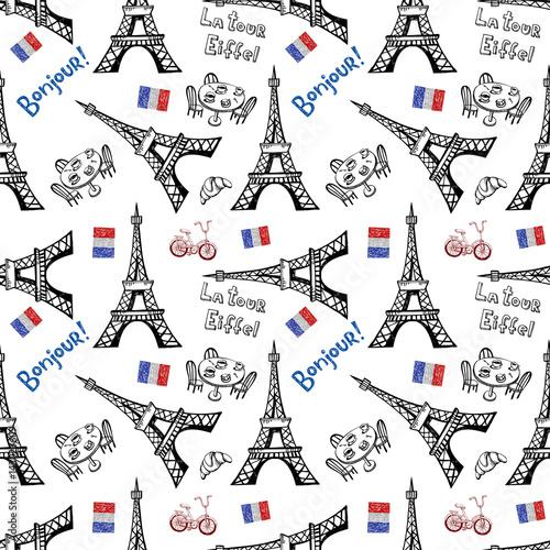 Tapety o tematyce podróżniczej bezszwowe-tlo-z-symbolami-pari