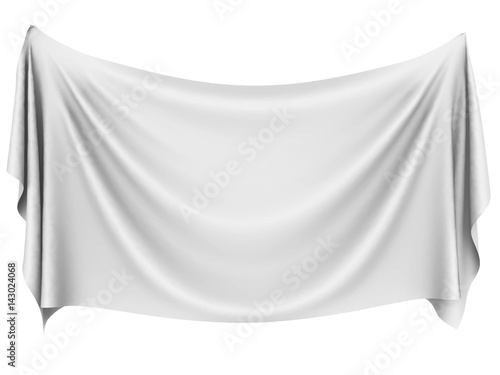 Poster Tissu Blank white hanging cloth banner with folds.