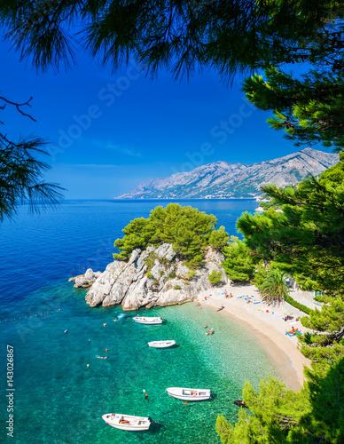 Motiv-Rollo Basic - Podrace beach in Brela through pine trees
