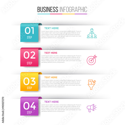 Fotografie, Obraz  Infographic template for four options , steps or process