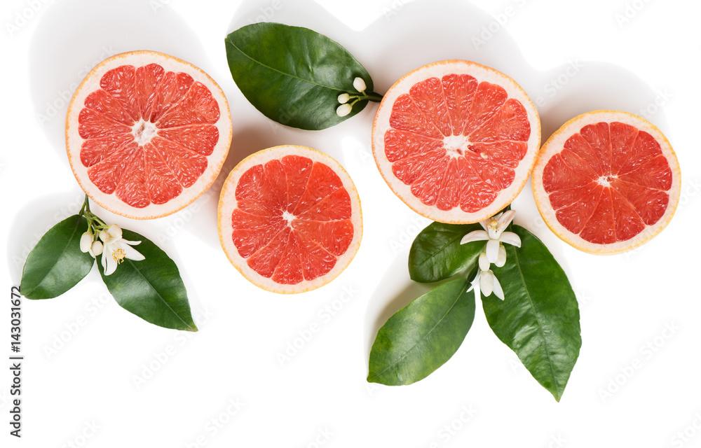 Fotografie, Obraz Grapefruit slices top view.