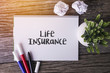 Life Insurance word with Notepad and green plant on wooden background.