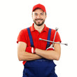 auto mechanic with wrench isolated on white background