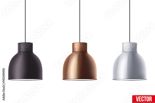 Fotografía Vintage Metallic stylish hang ceiling cone lamp set