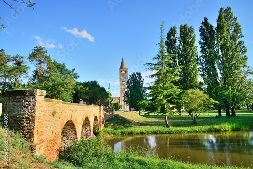 Abbey of Pomposa, medieval world famous Benedictine monastery, Codigoro, Emilia- Fototapet
