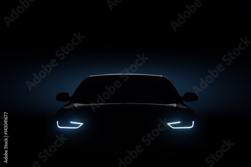 Fototapeta Car blue headlights, shape concept art dark obraz na płótnie