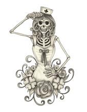 Art Nurse Skull.Hand Pencil Dr...