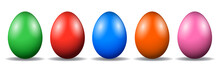 Five Easter Eggs, Collection Of Colored Eggs - Vector