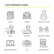 Recruitment icons set: resume, HR brand, corporate education, office, freelance, replacement workers, recruitment marketing, human to human, mobile recruiting