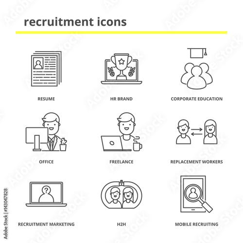Recruitment Icons Set Resume Hr Brand Corporate Education
