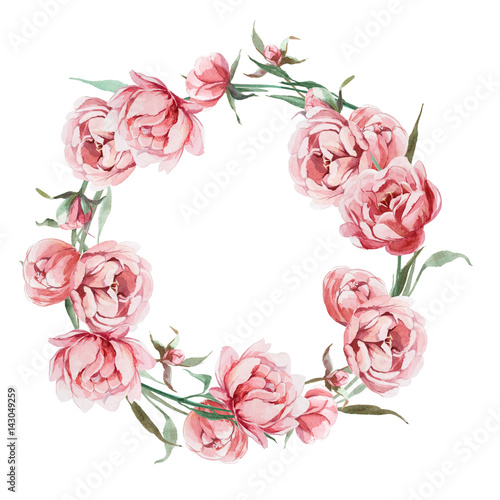 Watercolor romantic wreath of rose peony flower isolated on white watercolor romantic wreath of rose peony flower isolated on white background flower frame for card mightylinksfo