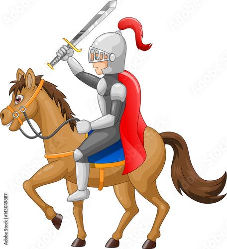 Fotobehang Superheroes Knight horse shield sword