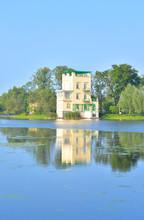 Summer Landscape With Holguin Pavilion In Peterhof.